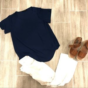 Olivaceous Tops - Olivaceous Navy Short Sleeve Blouse